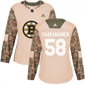 Women's Boston Bruins Urho Vaakanainen Adidas Authentic Veterans Day Practice Jersey - Camo