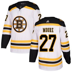 Men's Boston Bruins John Moore Adidas Authentic Away Jersey - White