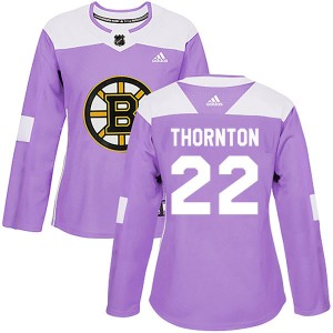 Women's Boston Bruins Shawn Thornton Adidas Authentic Fights Cancer Practice Jersey - Purple