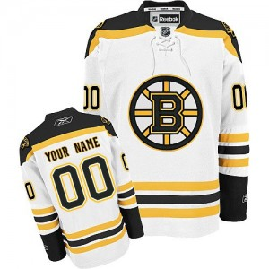 Youth Boston Bruins Custom Reebok Authentic ized Away Jersey - White